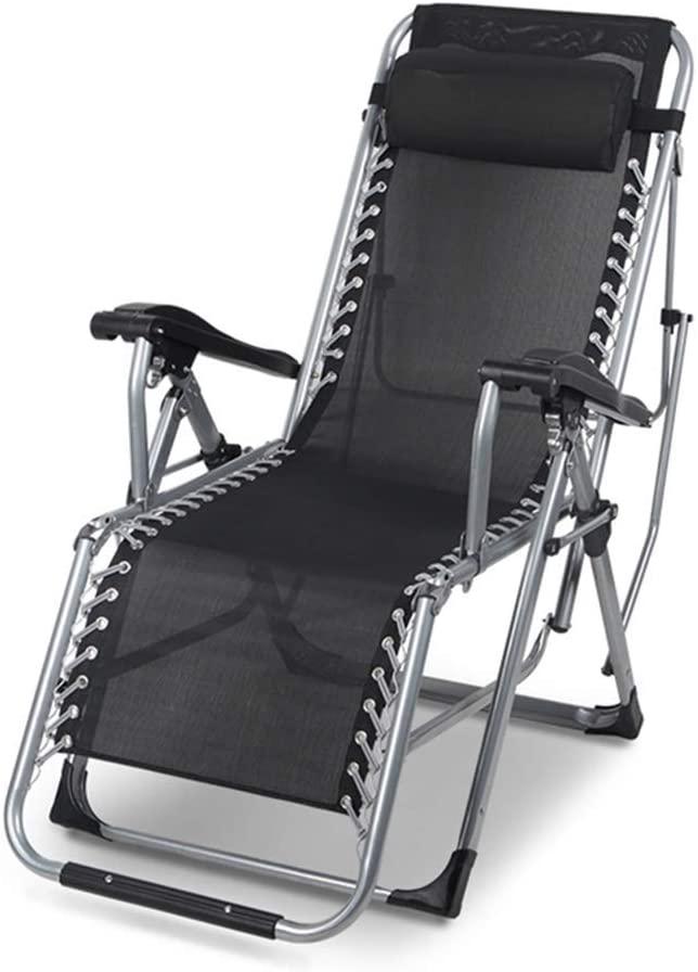 QQXX Folding Zero Gravity Reclining Relaxer Chair Texteline Adjustable Lounge Chair, Deck Relaxing Chair Sun Lounger Recliner Bedchair for Beach Camping Patio, Garden with Pillow