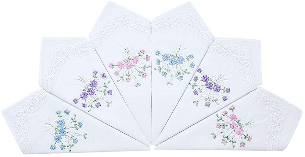 Ladies/Women's Cotton Handkerchief Flower Embroidered with Lace at Corner
