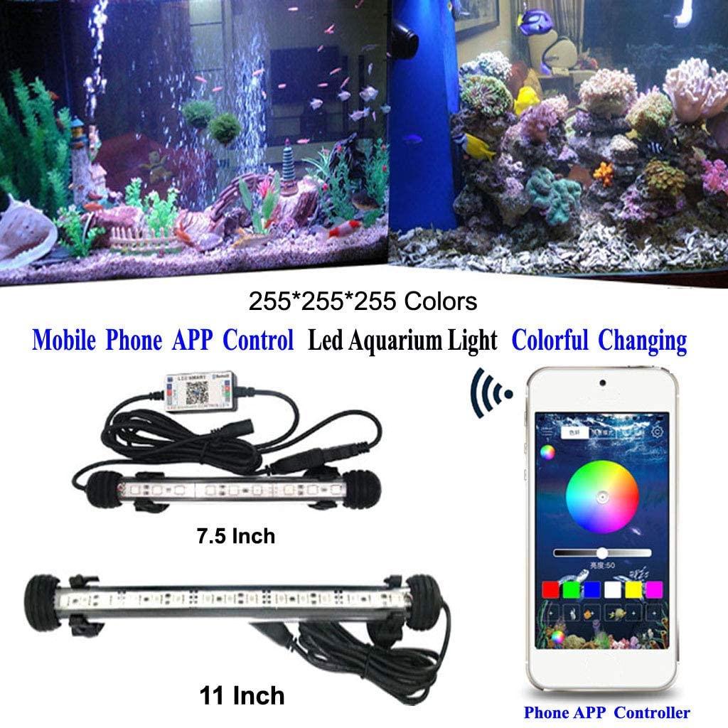 Panamire RGB Aquarium Light, LED Fish Tank Light, Moblie APP Bluetooth Controller Colorful Changing Submersible Marine Light Lamp Planted Waterproof