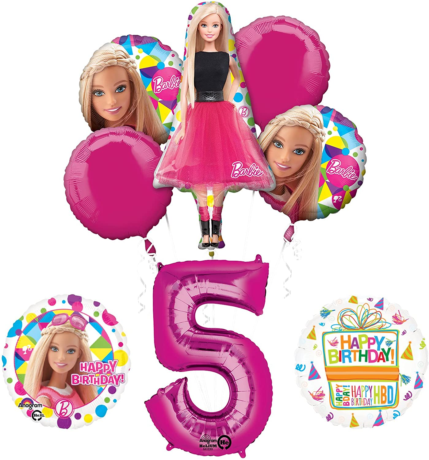 Mayflower Barbie 5th Birthday Party Supplies and Balloon Bouquet Decorations