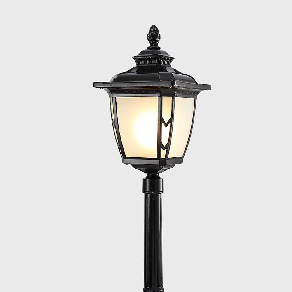Vampsky Continental Traditional Victoria Antique Waterproof Glass 1-Light Lantern Column Lamp Lawn Villa Lights Garden Landscape Pole Lights Outdoor LED Lights E27 Decoration Street Light,Black