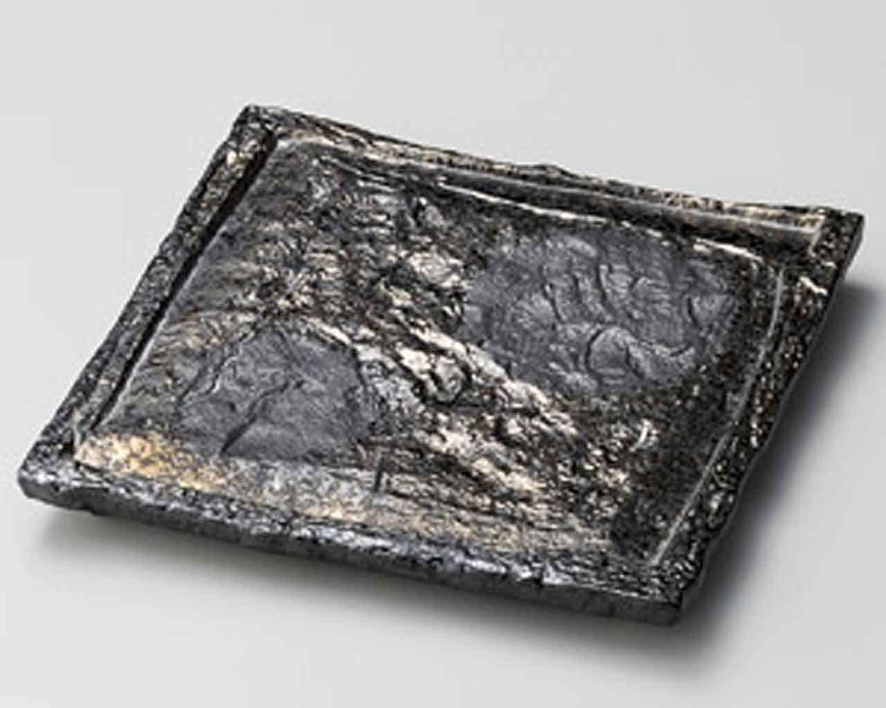 Gold Blow 8.1inch Set of 5 Medium Plates Black porcelain Made in Japan