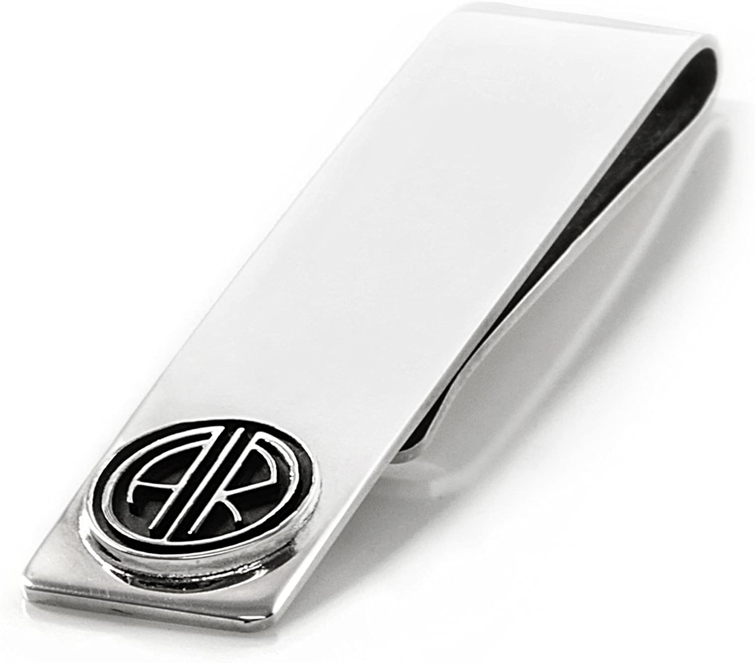 Sterling Silver .925 Custom Made Personalized Money Clip with Initials Gatsby