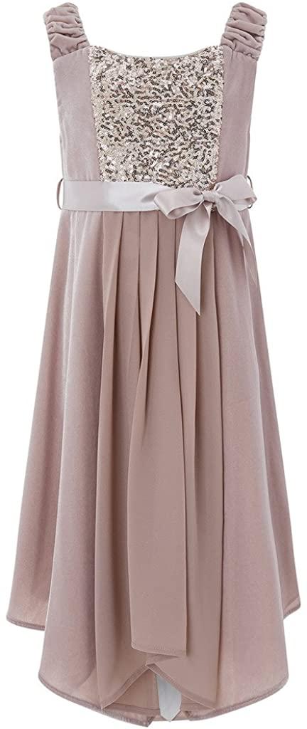 flowerry Chiffon Flower Girl Dress Floor Length Sleeveless Sequin in Top