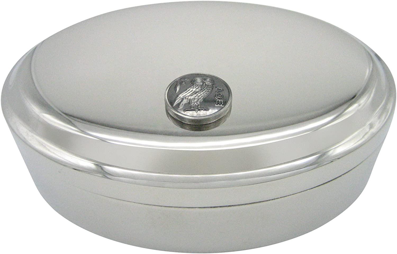 Circular Owl of Athena Pendant Oval Trinket Jewelry Box