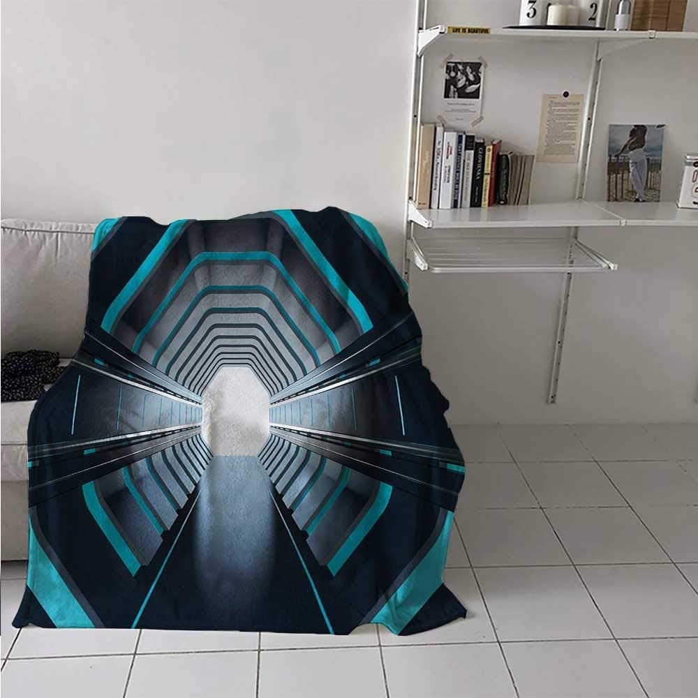 painting-home Soft Blanket Tunnel with Neon Passage Mercury Lunar Orbit Inspired Stardust Art All Seasons Thin Quilt for Kids Couch Sofa Blue Dark Blue White 30 x 50 Inch