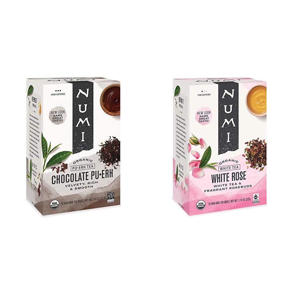 Numi Organic Tea Chocolate Pu-erh, 16 Count Box of Tea Bags, Black Tea & Organic Tea White Rose, 16 Count Box of Tea Bags, White Tea (Packaging May Vary)