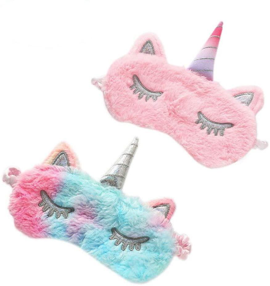 ASPORITNG Unicorn Sleeping Mask, 2 Pack Girls Soft Plush Blindfold Mask, Cute Unicorn Kids Sleep Mask