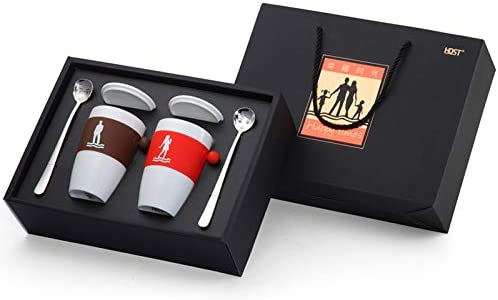 Stainless Steel Cutlery Set with Black Box - Dinner Spoon×2, Mug×2,Flatware Set - Best Cutlery Set Gift for Business gift and Birthday Gift