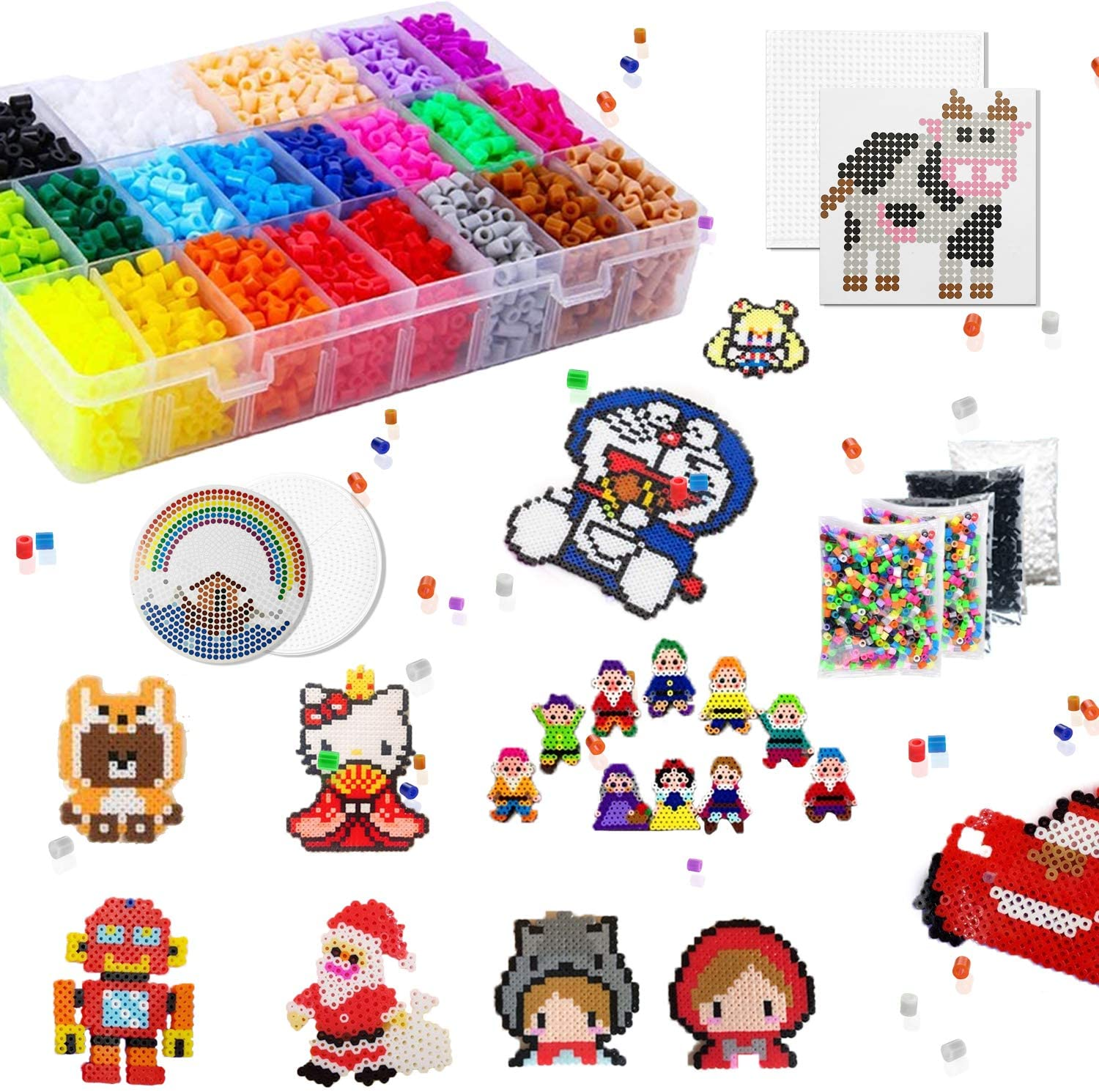 SUNPLAY Fuse Beads Kit, 24 Colors 45+ Patterns 7800 Pcs DIY Fuse Beads Craft Kit for Kids,5mm Bead with Pegboards and Tweezers for Boys Girls Age 4 5 6 7 8 9 Crafting Activity Gift Toy