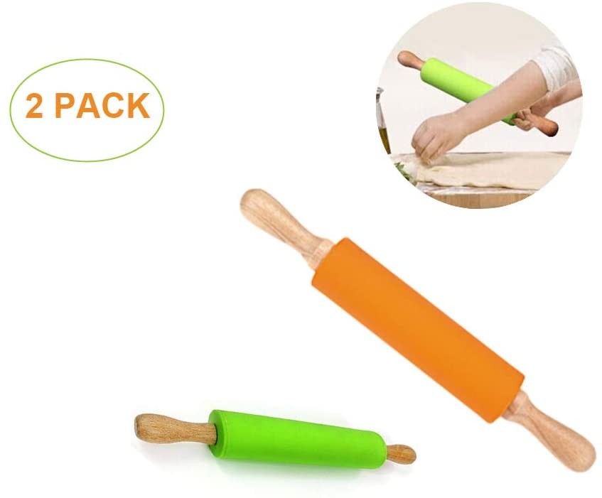 PaWuKi Rolling Pins, Combo Kit of Large and Small Silicone Dough Rollers, Non-Stick Silicone Rolling Pins for Baking Home Kitchen Children Cake