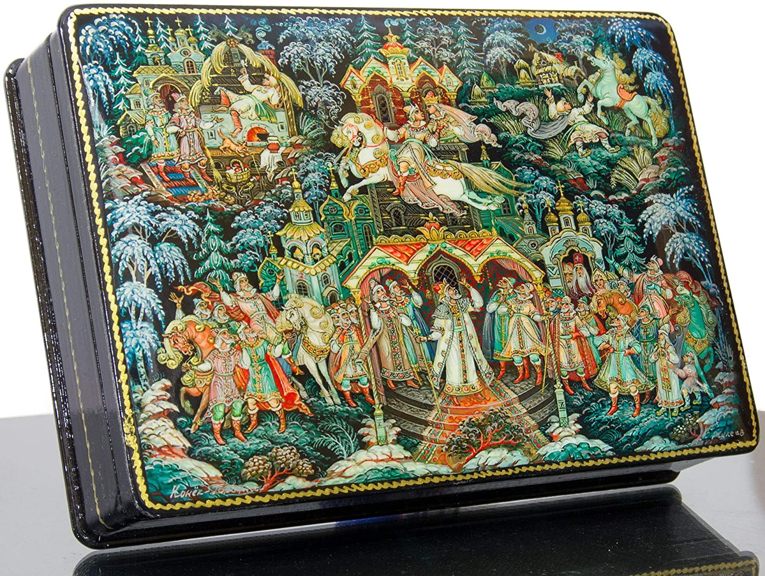craftsfromrussia Russian Lacquer Miniature - Jewelry Trinket Box - Series #2 The Sory of Wise Magic Horse(Russian Fairy Tale) - Big Size - Hand Painted in Russia (Series B - 11)
