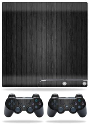 MightySkins Skin Compatible with Sony Playstation 3 PS3 Slim Skins + 2 Controller Skins Sticker Black Wood