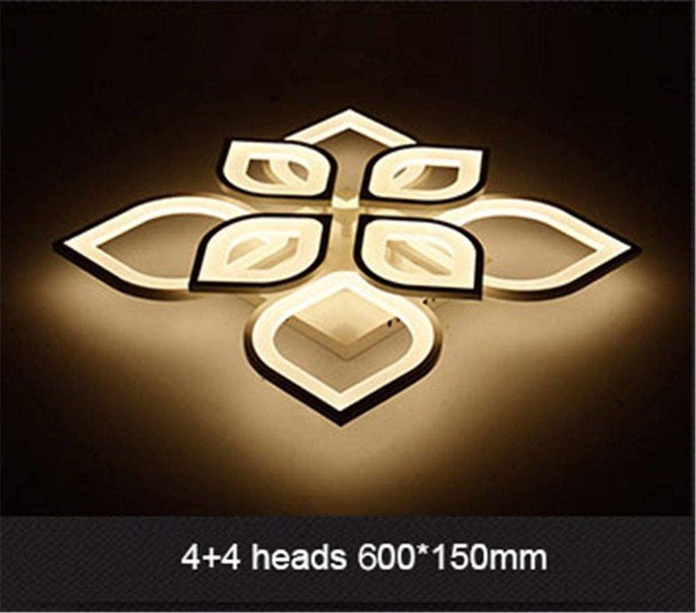 BOSSLV Modern Led Ceiling Chandelier Parlor Bedchamber Lamp Modern Lighting, 4 + 4 Heads, Warm White
