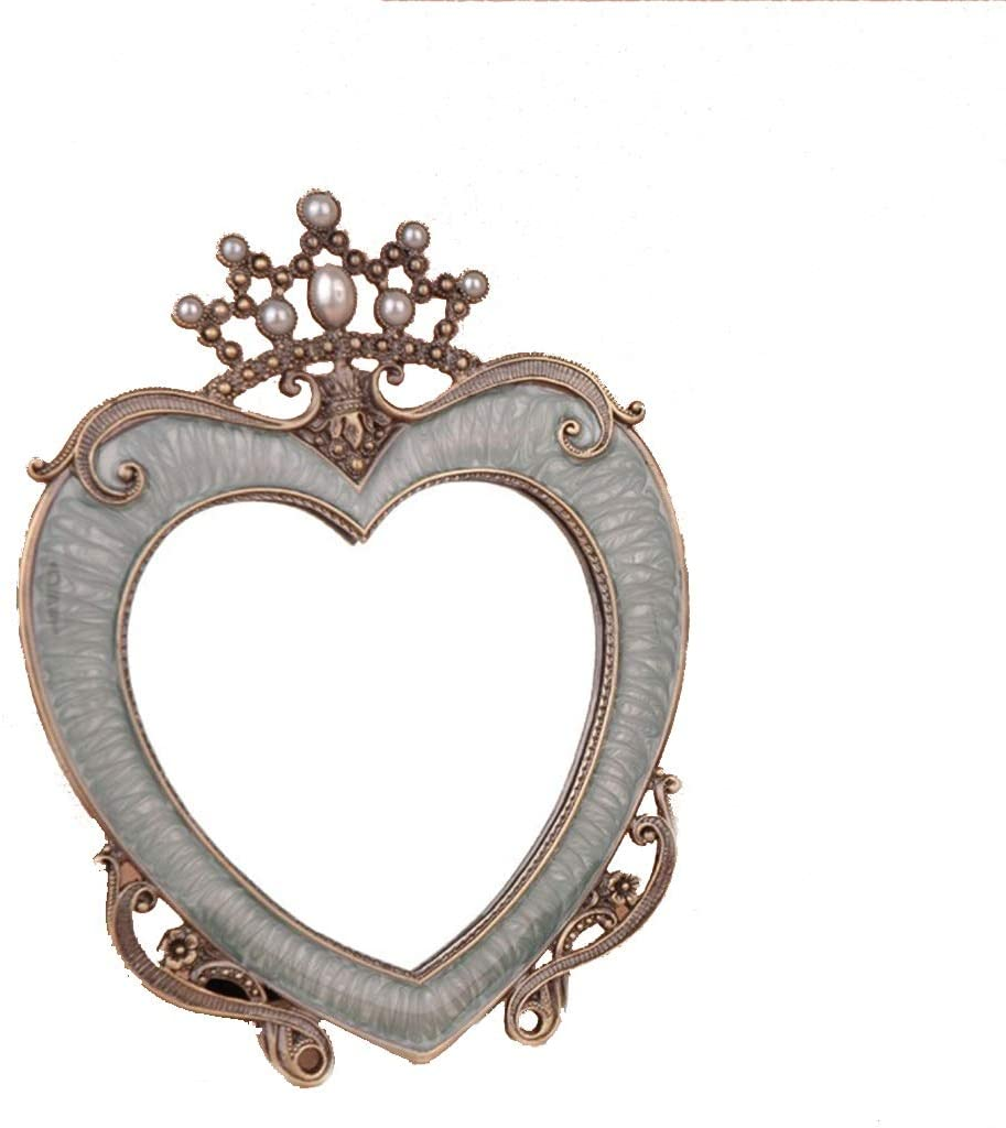 Makeup Mirror, Decorative Peach Heart Desktop Mirror European Retro Decorative Mirror Creative Birthday Gift Makeup Mirror (Color : White)