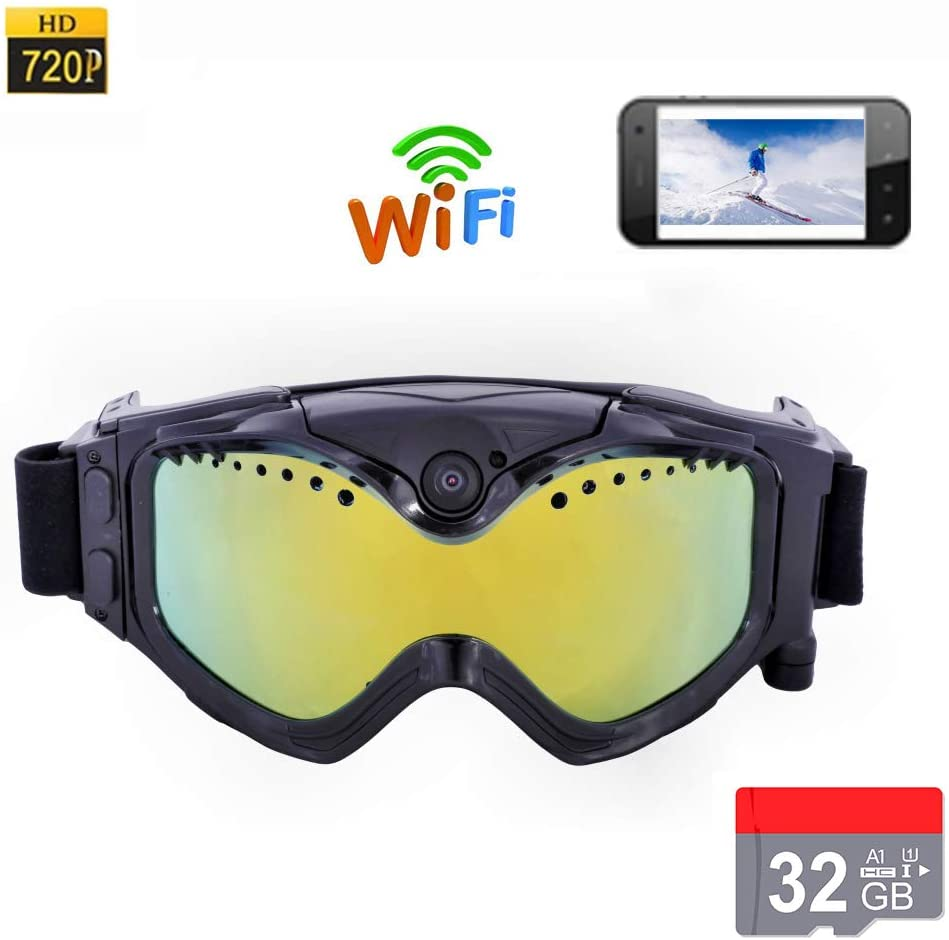 CZX 1080P high-Definition ski Sunglasses, Goggles, WiFi Sports Camera, Color Double Anti-Fog Mirror, Free APP Real-time Image Video Monitoring