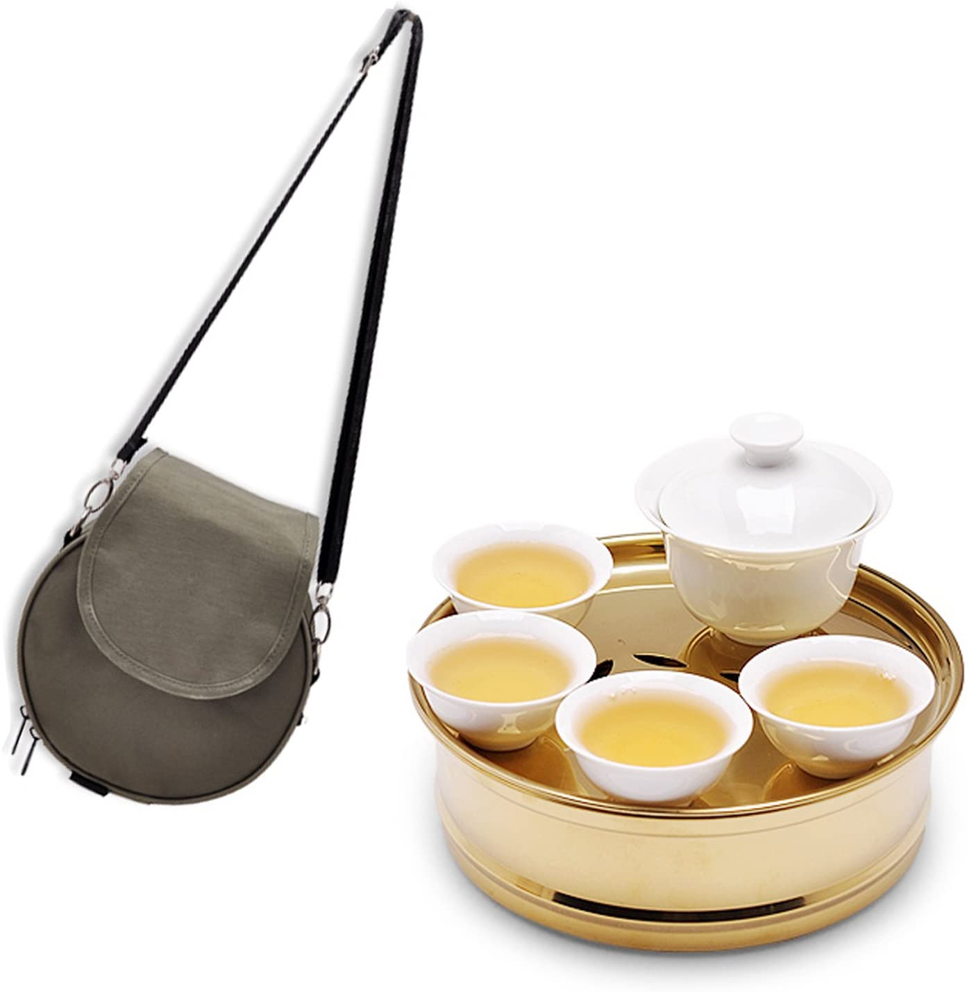 Chinese Portable travel Tea set for kungfu tea.Stainless steel Serving Tray .Vintage Style