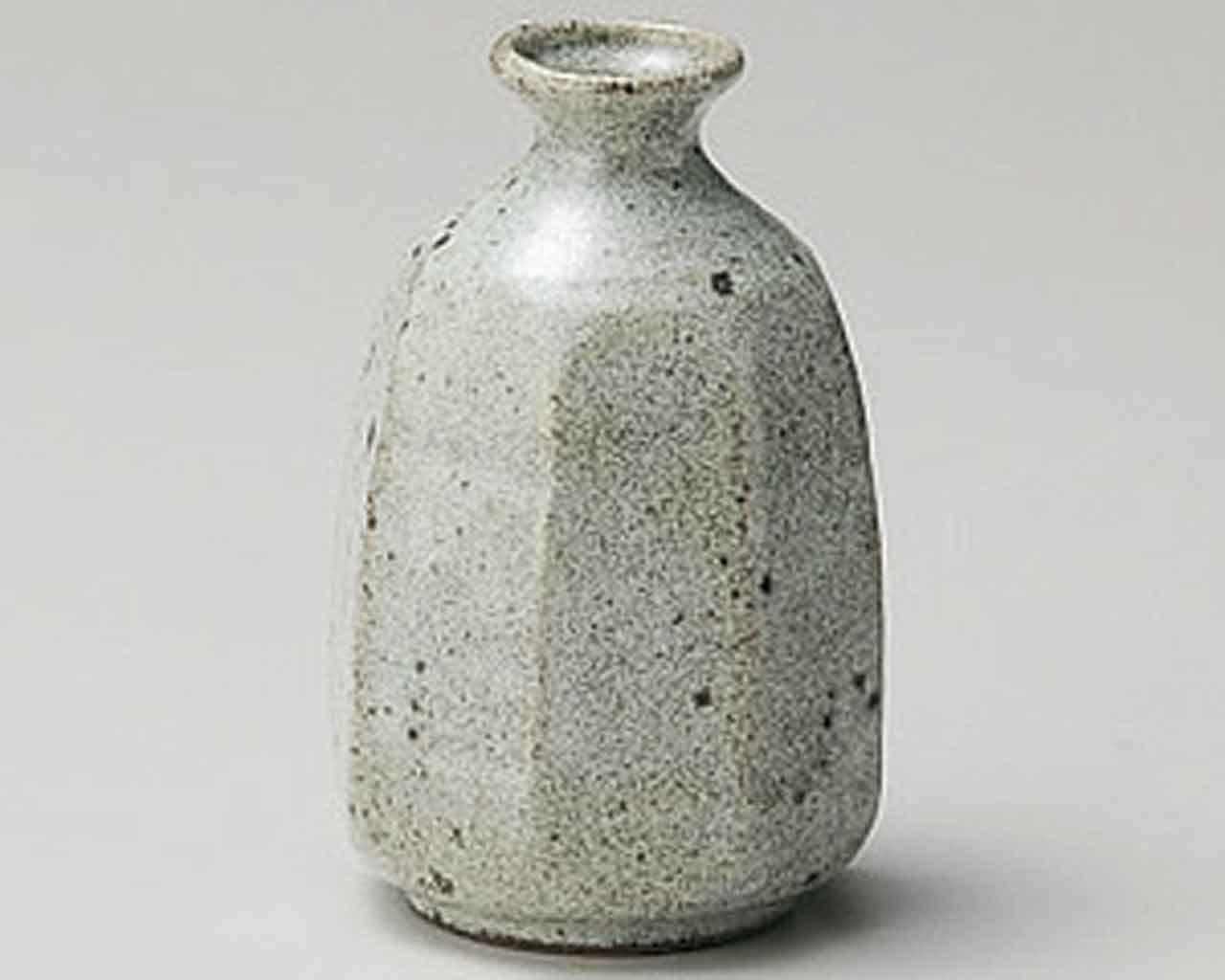Grey-Glaze Octagon 3.5inch Sake carafe Grey Ceramic Made in Japan