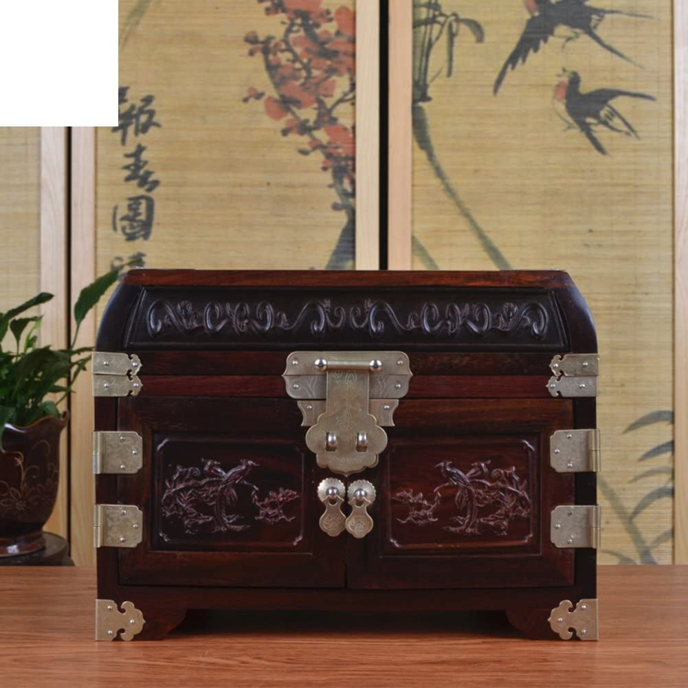 Red rosewood carved jewelry boxes jewel box mahogany rosewood storage box crafts-A