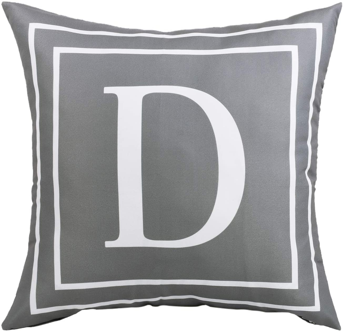 ASPMIZ Throw Pillow Covers English Alphabet D Pillow Covers, Initial Pillowcases Gray Letter Throw Pillow Covers, Decorative Cushion Cover for Bed Bedroom Couch Sofa (Gray, 18 x 18 inch)