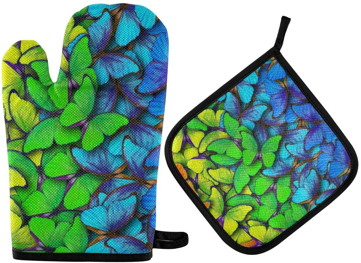 N\ A Oven Mitts and Pot Holders Sets for Microwave BBQ Cooking Baking Grilling Barbecue Colors of Rainbow Butterfly Oven Gloves Potholder Non-Slip Heat Resistant Kitchen Counter Safe Mats Soft Cotton