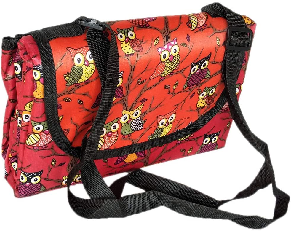 Coolwife Picnic Outdoor Blanket Camping Beach Sand Waterproof Mat Portable Oversized Seats Picnic Mat (Owl Red)