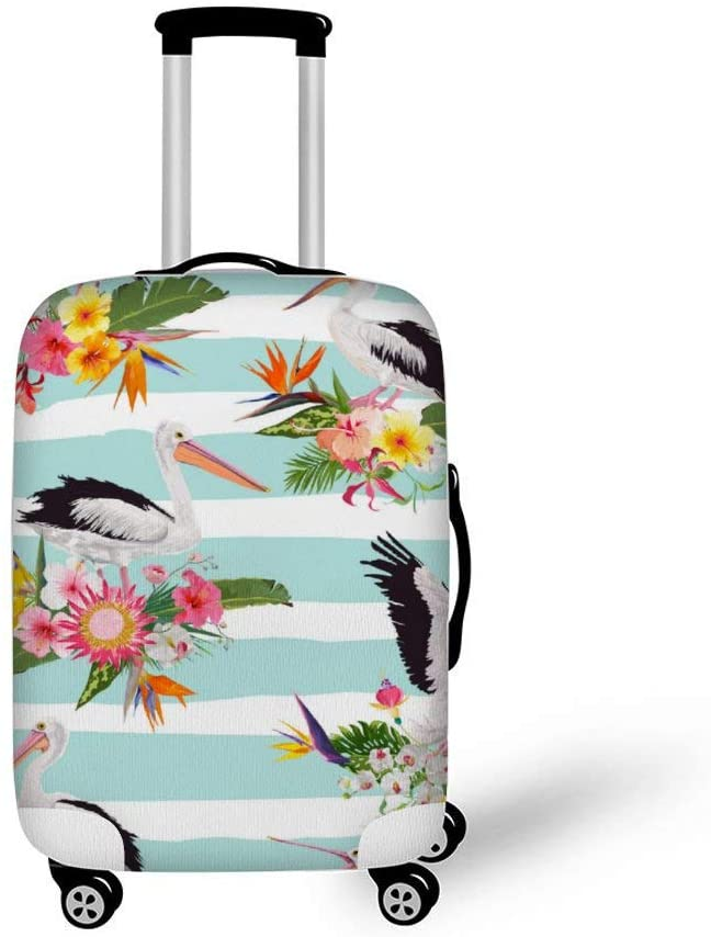 Tropical Nature Pattern With Pelicans Fashionable Baggage Suitcase Protector Travel Luggage Cover Anti-Scratch