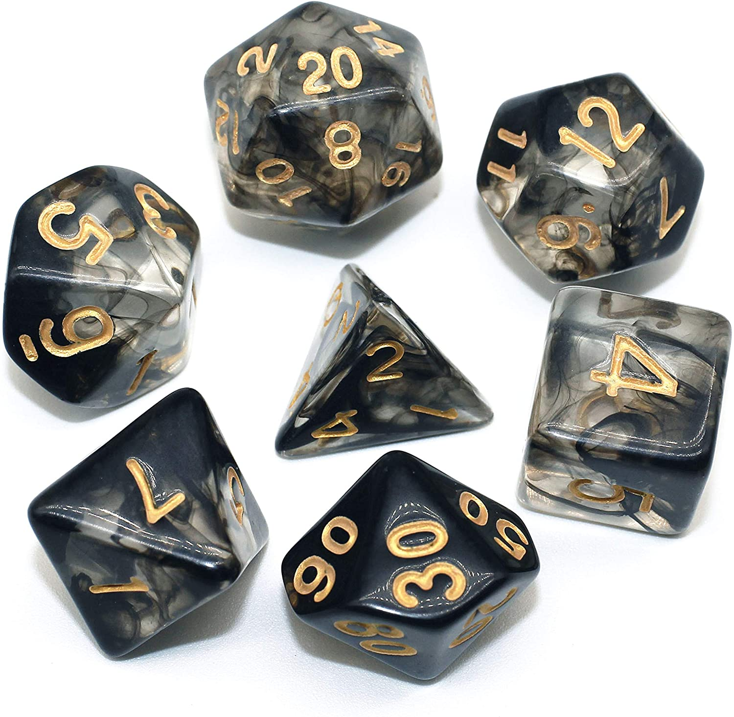HD Dice DND RPG Polyhedral Dice Set Fit Dungeons and Dragons(D&D) Pathfinder Role Playing Games Black Cloud Transparent Dice