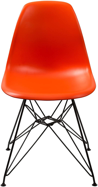 Benjara Benzara Plastic Chair with Metal Eiffel Style Legs, Orange and Black