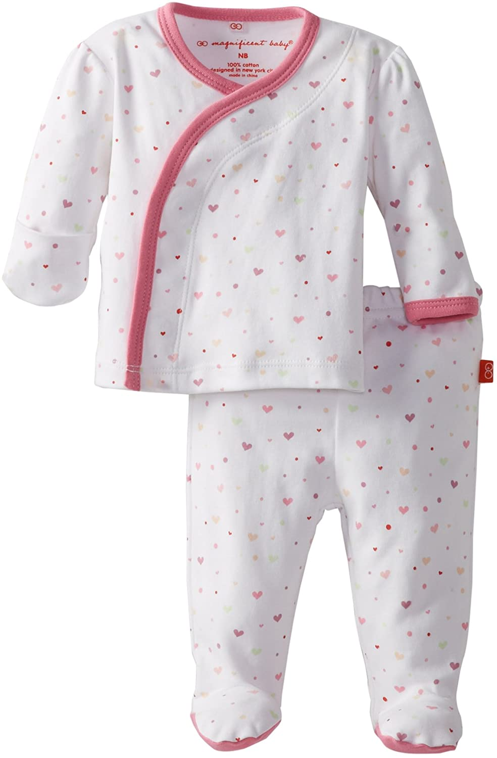 Magnificent Baby Baby-Girls Newborn Long Sleeve Kimono Set with Pant, Hearts, New Born