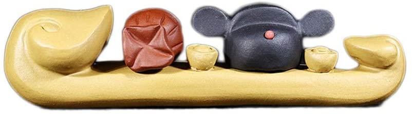 XinQuan Wang Handmade Yixing purple clay tea pet tea tray careerism penholder Home Decoration (Color : Yellow)