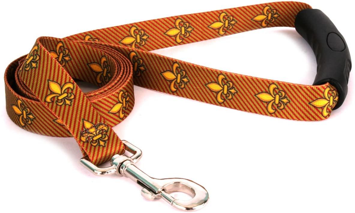 Yellow Dog Design Fleur de Lis Gold EZ-Grip Dog Leash with Comfort Handle