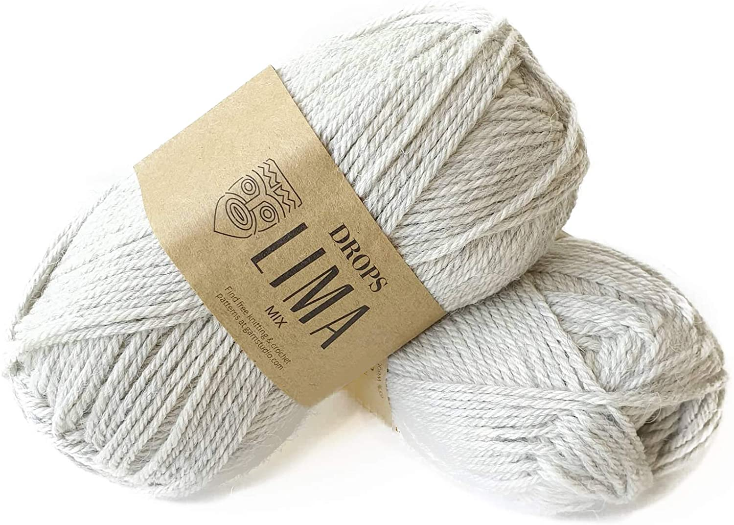 65% Wool and 35% Alpaca Yarn for Knitting and Crocheting, 3 or Light, Worsted, DK Weight, Drops Lima, 1.8 oz 109 Yards per Ball (9020 Pearl Grey)