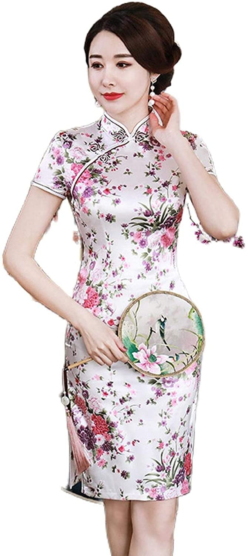 Qipao Dress Modern Vestido Women's Satin Mini Cheongsam New Traditional Chinese for Wedding Flower Plus Size S-6XL Spandex
