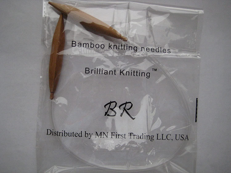 Bamboo Circular Knitting Needles Size US 17 (12.0 mm) Brilliant Knitting (BR Brand), Length 20