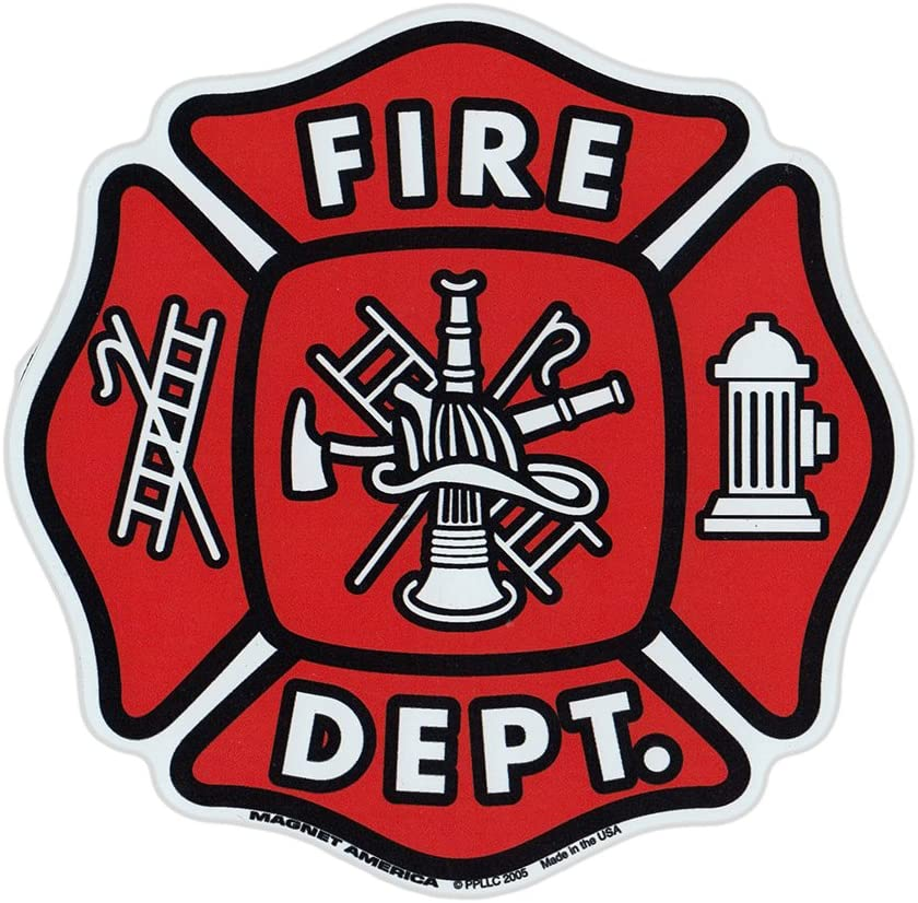 Magnetic Bumper Sticker - Fire Department Shield (Maltese Cross, Firefighter, Fireman) - Support Magnet - 5