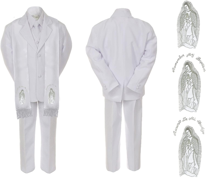 Unotux Infant Baby Boy Christening Baptism Communion White Suit Mary Maria Stole Sm-7