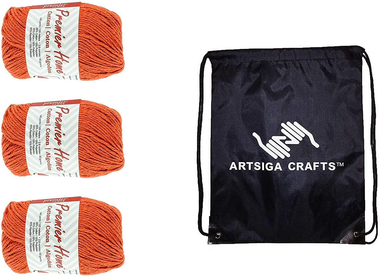 Premier Knitting Yarn Home Cotton Orange 3-Skein Factory Pack (Same Dye Lot) 38-6 Bundle with 1 Artsiga Crafts Project Bag