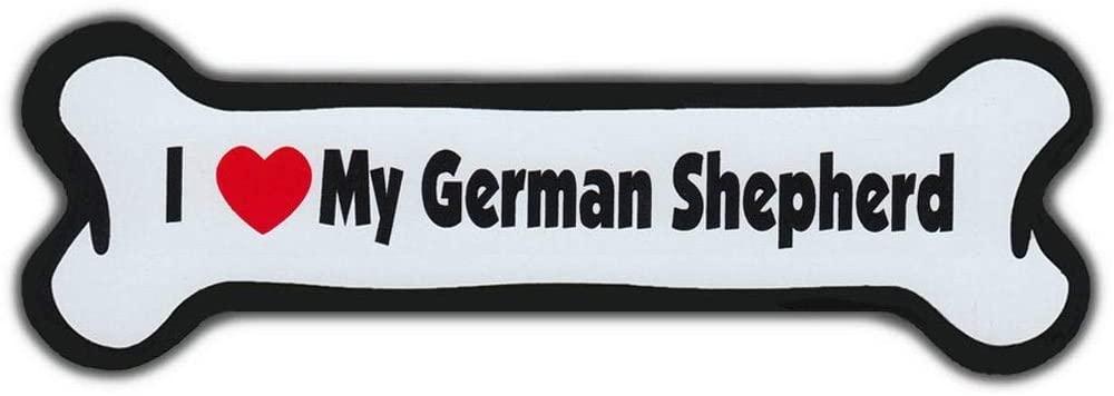 PotteLove Dog Bone Shaped Magnet - I Love My German Shepherd - Cars, Trucks, SUVs, Refrigerators, Etc. - Magnetic Bumper Stickers, Art Decor