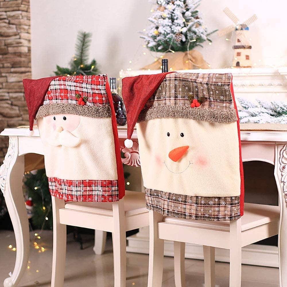 Christmas Chair Cover Snowman Santa Claus Hat Xmas Decorations 2pcs (Santa Claus 2pcs)
