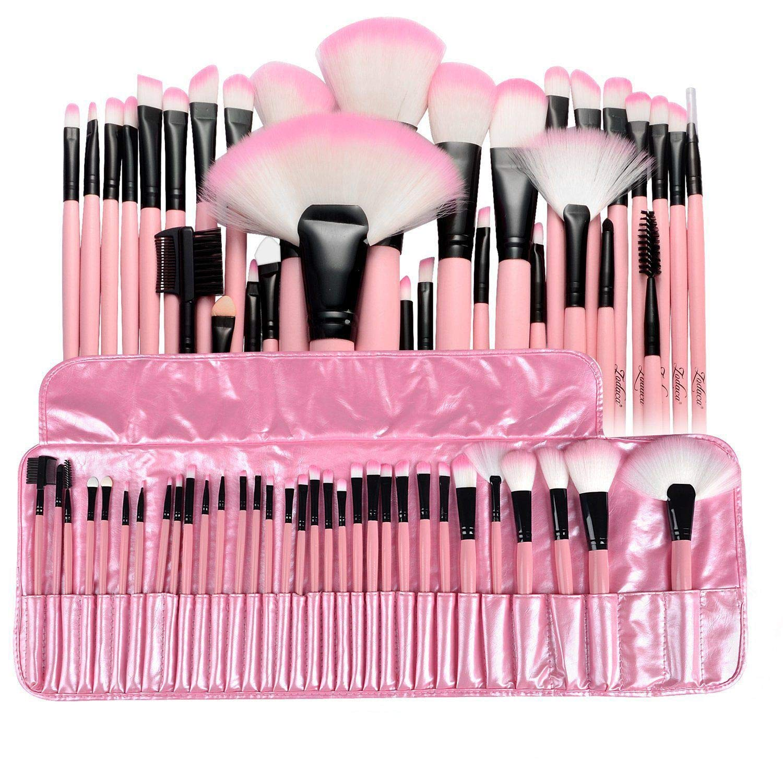Zodaca 32 Pcs Professional Makeup Brushes Set, Premium Synthetic Cosmetic Face Eye Shadow Eyeliner Foundation Concealer Blush Lip Powder Liquid Cream Blending Brush Kit with Pouch Bag Case 32pcs Pink