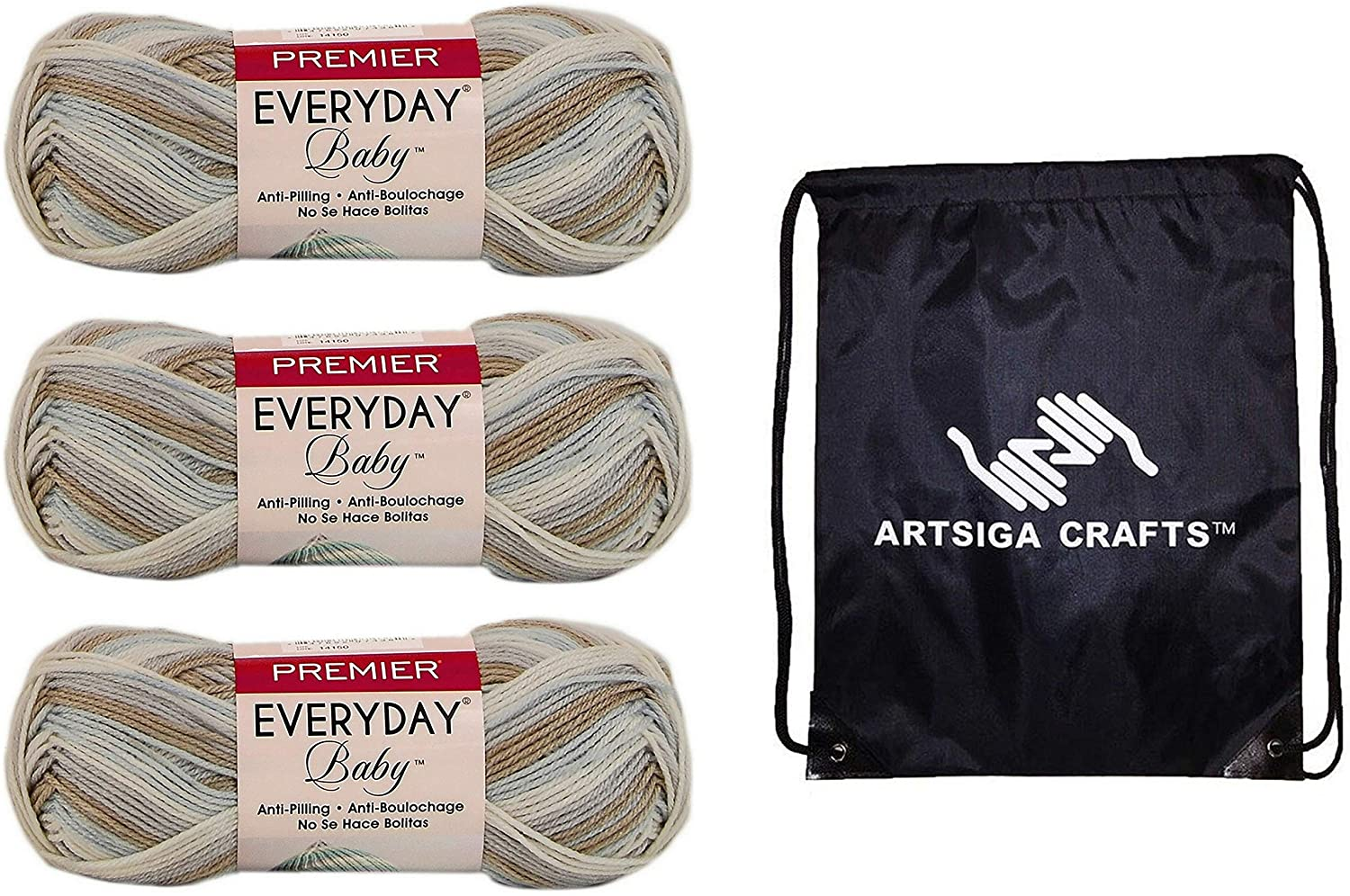 Premier Knitting Yarn Everyday Baby Multi Lullaby 3-Skein Factory Pack (Same Dye Lot) DN102-13 Bundle with 1 Artsiga Crafts Project Bag