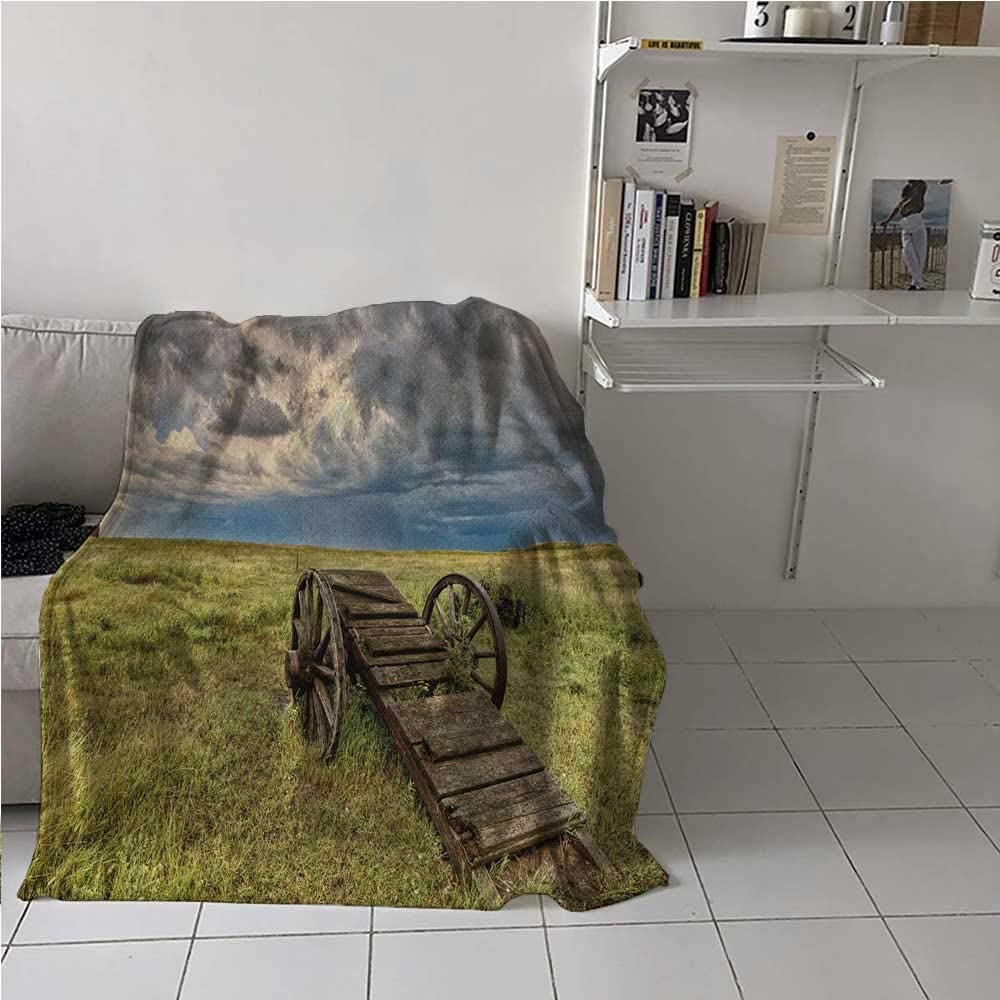painting-home Lightweight Blanket Old Prairie Cart Agricultural Field Ranch Dramatic Stormy Sky Soft Breathable Blanket for Kid Baby Toddler Teenager Green Brown Grey 70 x 84 Inch