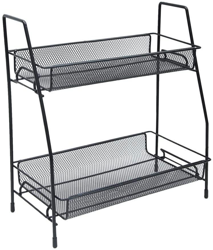Desk Organizer Wire Mesh 2 Layer/Paper Sorter/Desk Multifunctional File Holder Filing Shelves for Office, School Black