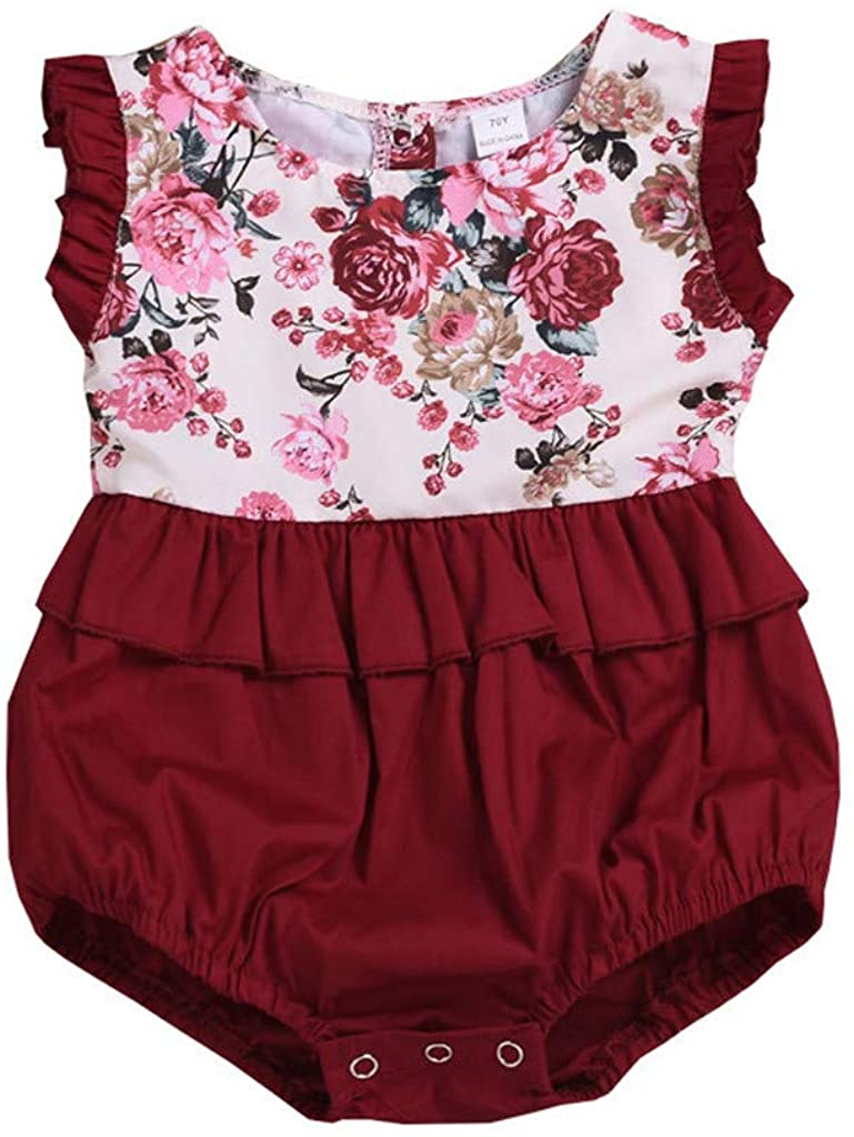VEFSU Toddlers Infant Baby Kids Sleeveless Floral Romper Sister Matching Outfits