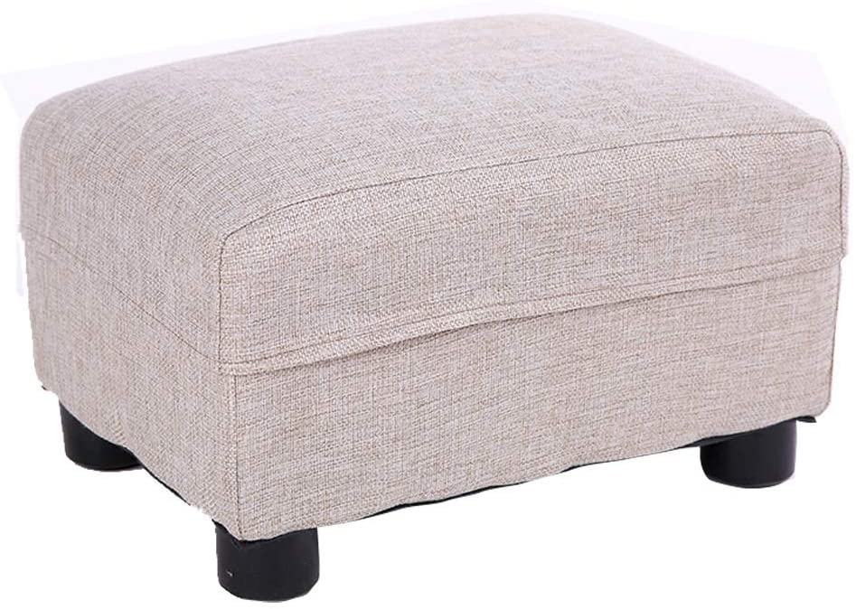 GWW Footstool Ottoman Pouffe Multifunctional,Change Shoes Stool/Bedside Stool/Wooden Makeup Stool/Cotton and Linen, for Dressing Room/Study Room/Living Room/Dining Room,4 Colors