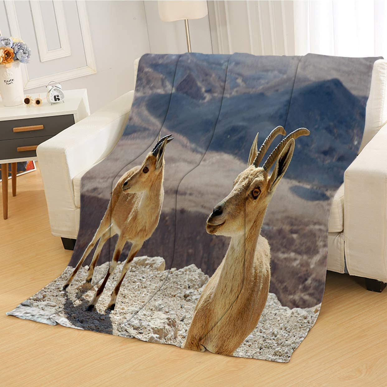 RLDSESS Soft Baby Blanket, All Season Blanket,Two Ibexes On The Cliff,Soft Weighted Blanket,Baby Size: 31Wx47L inch