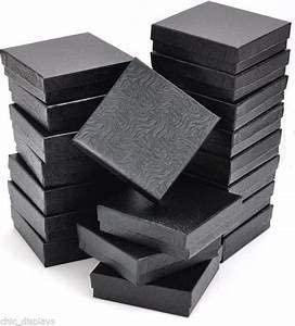 WMS_LL LOT of 12 Black Cotton Filled Box Jewelry Gift Boxes Bracelet Bangle Box