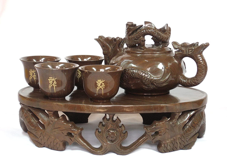 Chinese Handmade Muyu-Stone Health Kungfu teaset - Dragon Pot Style