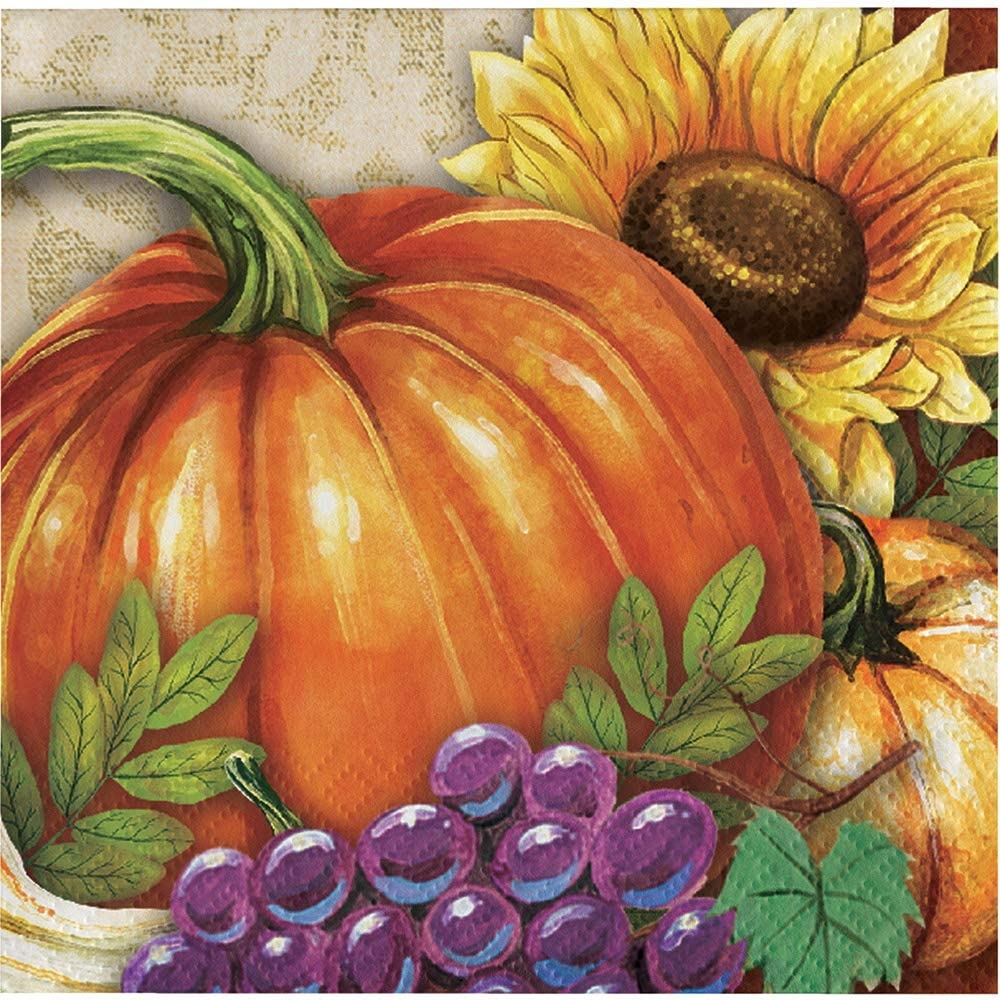 Creative Converting Harvest Thanksgiving Beverage Napkins, One Size, Multicolor